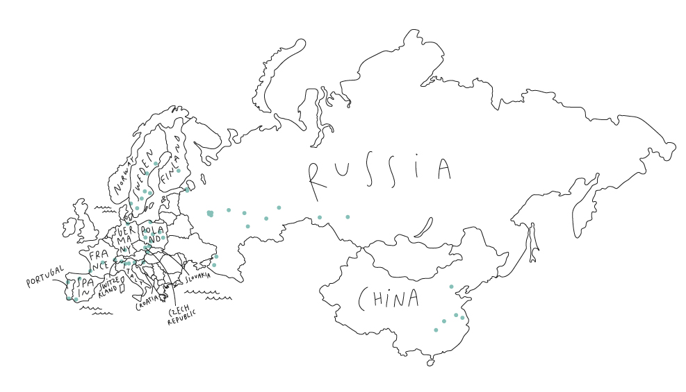 We have meeting places across Europe, Russia and China.